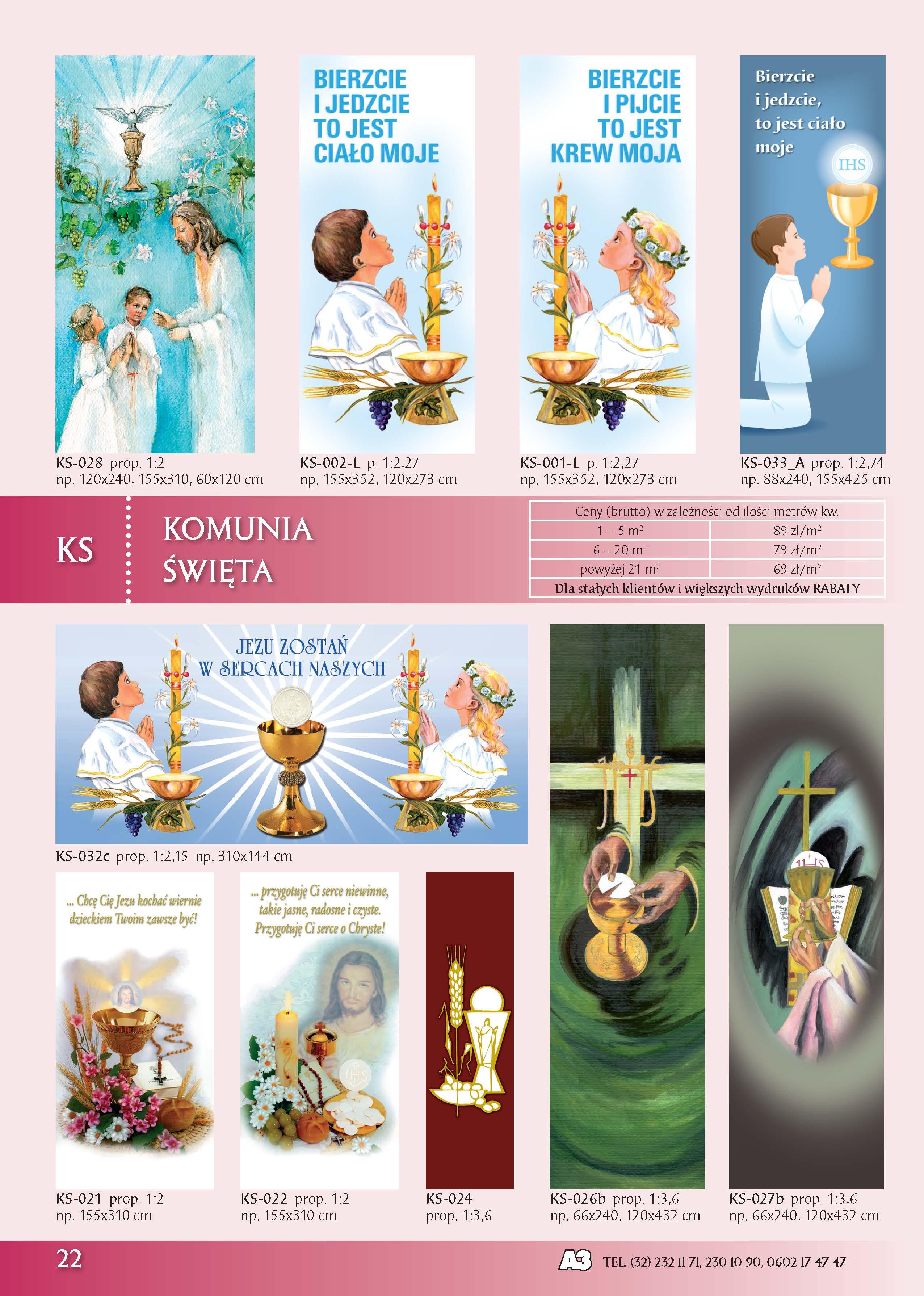 Banery kościelne na komunię świętą