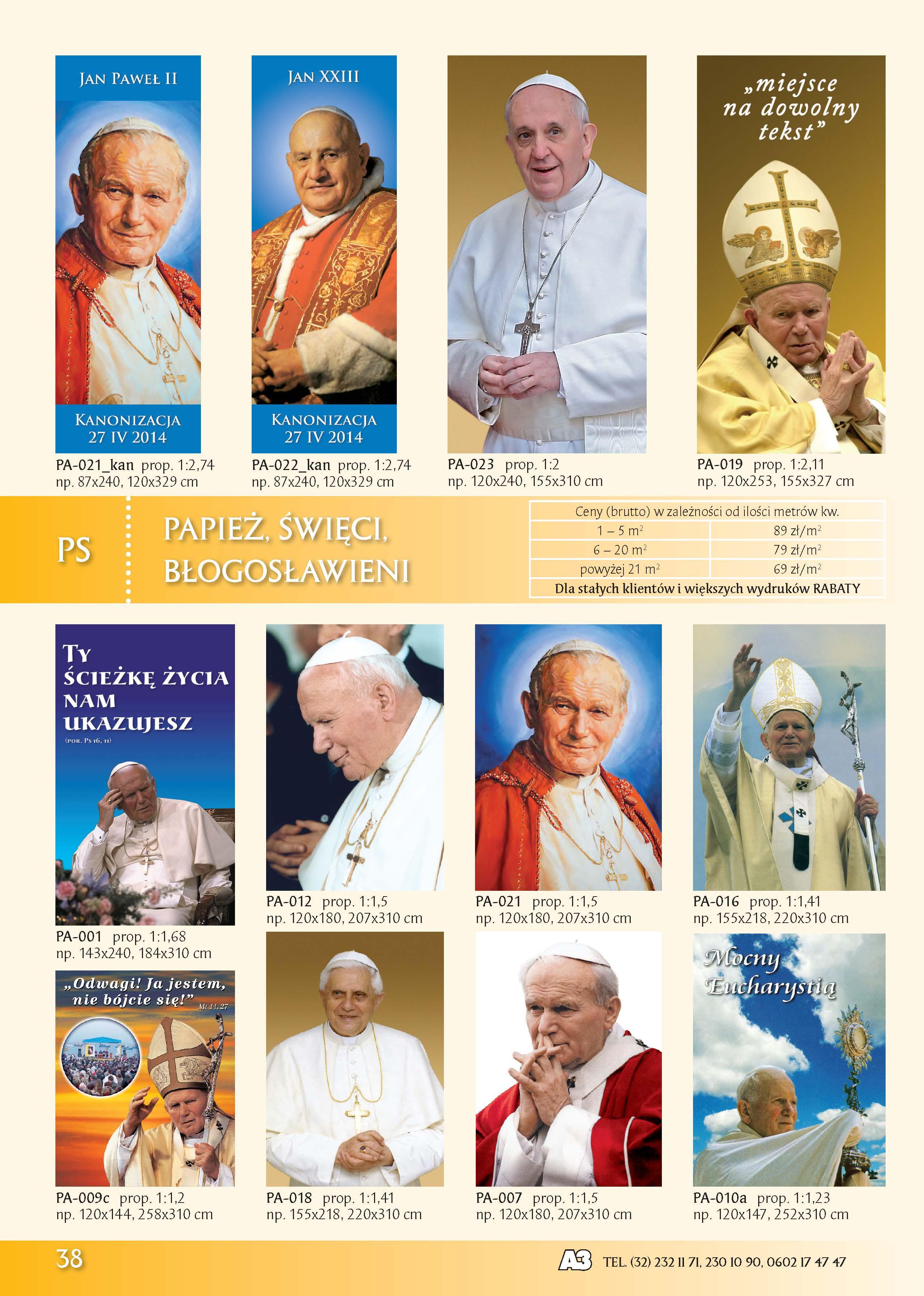 Banery z Papieżem, Świętymi, Błogosławionym