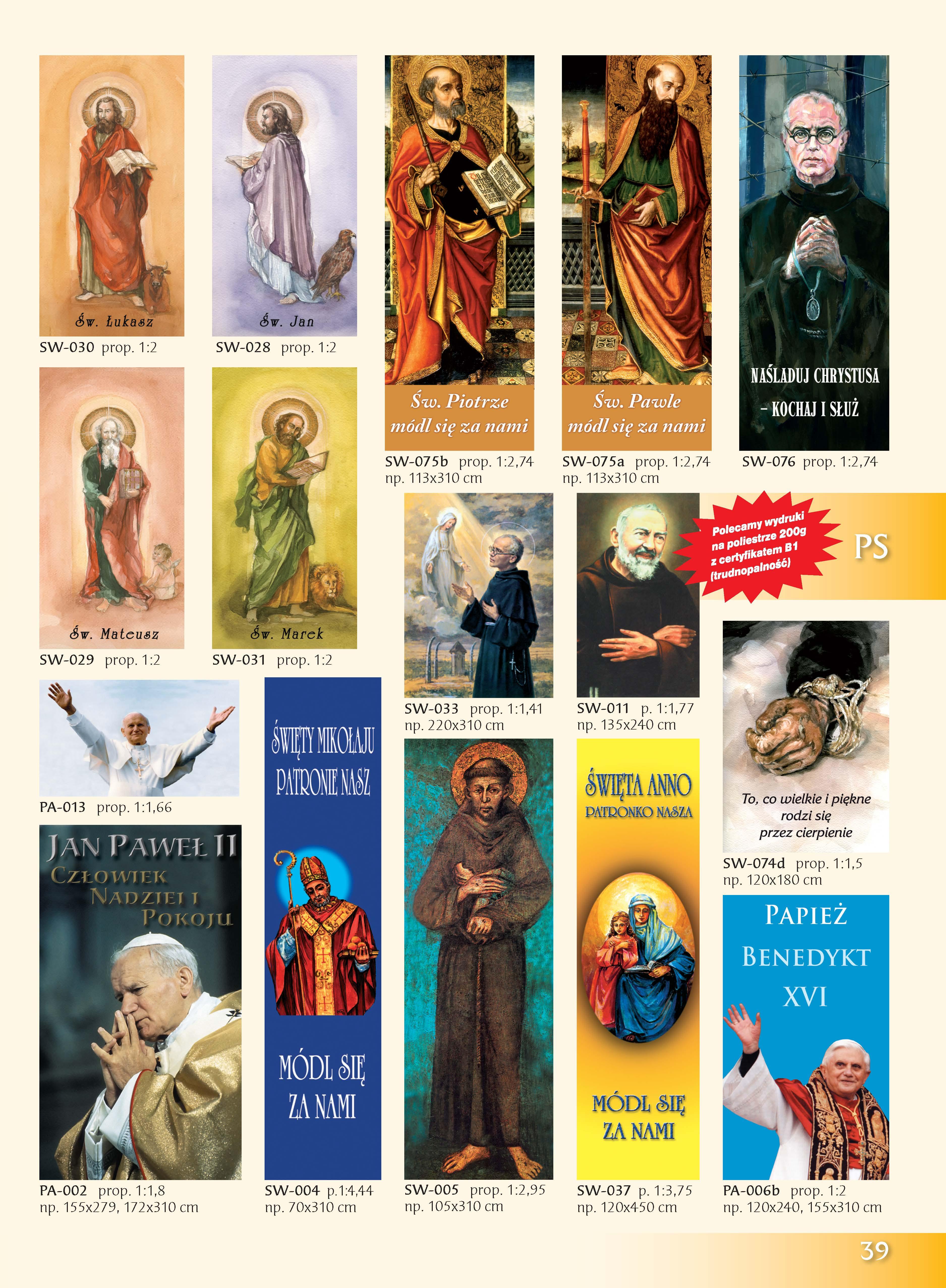 Obrazy z Papieżem, Świętymi, Błogosławionymi