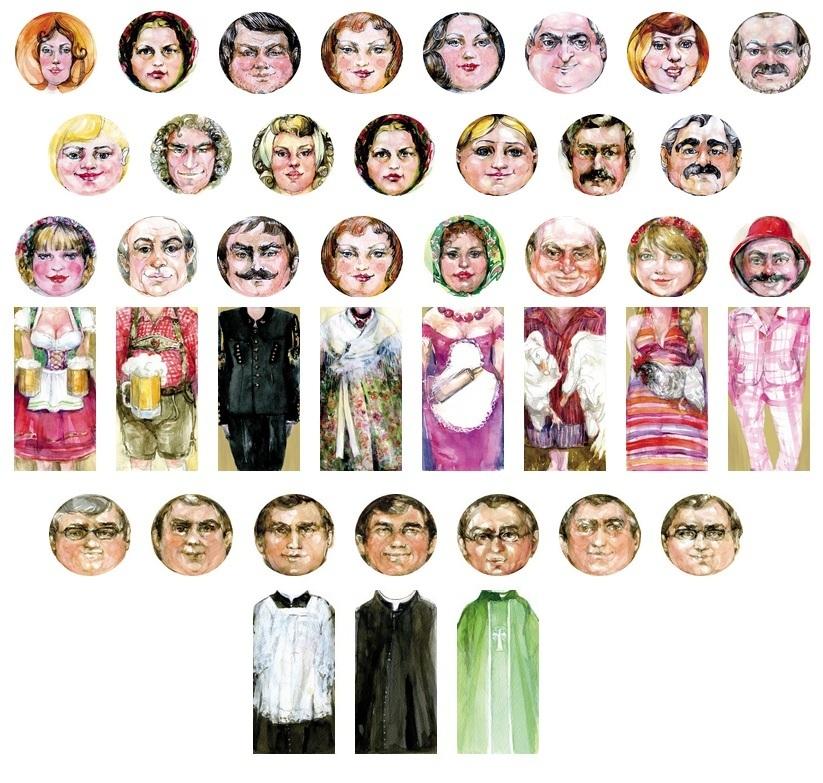 dożynkowe postacie, słomiane postacie, dożynki, bele słomy, ludzie ze słomy