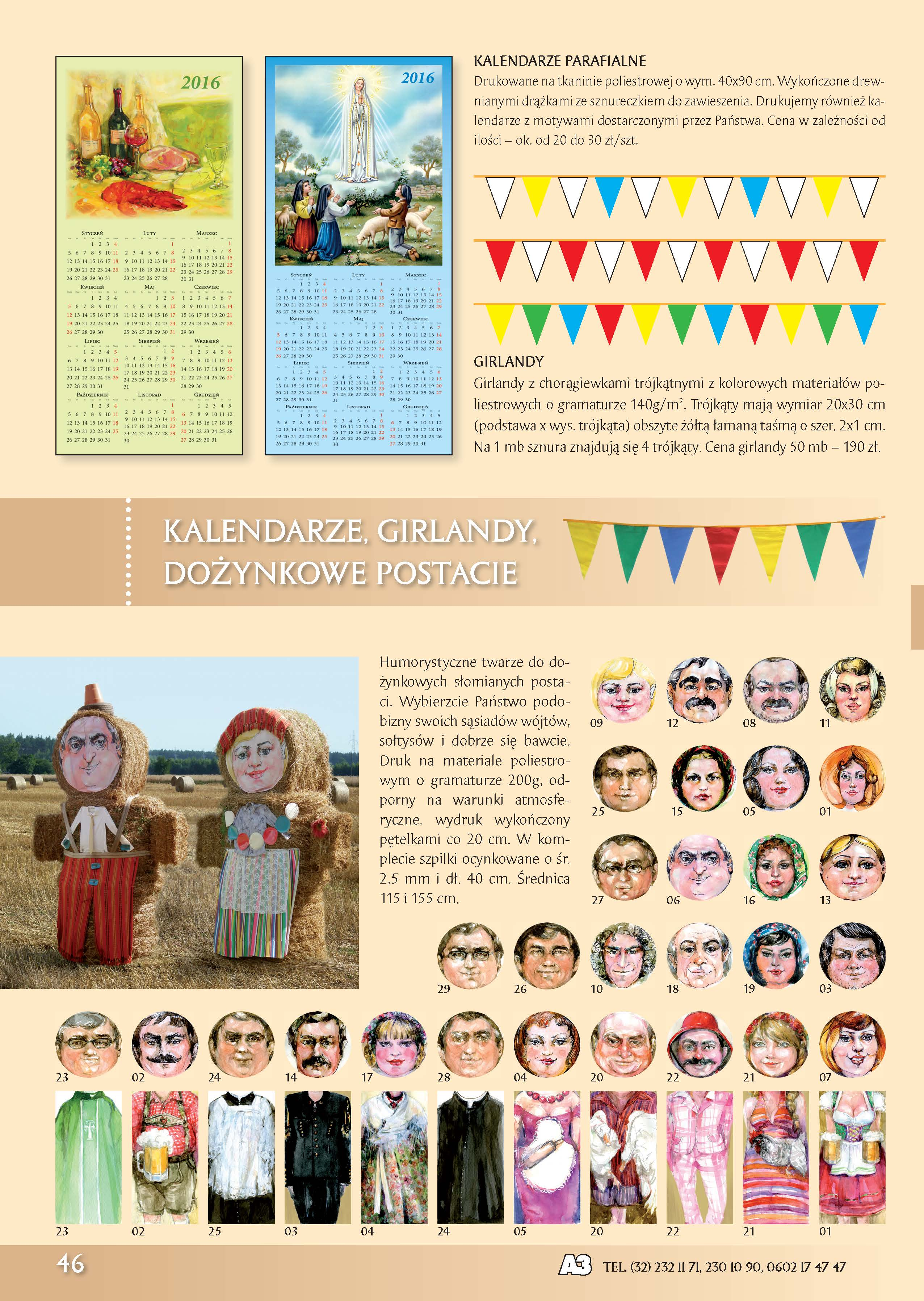 Kalendarze Parafialne, Girlandy, Dożynkowe Postacie